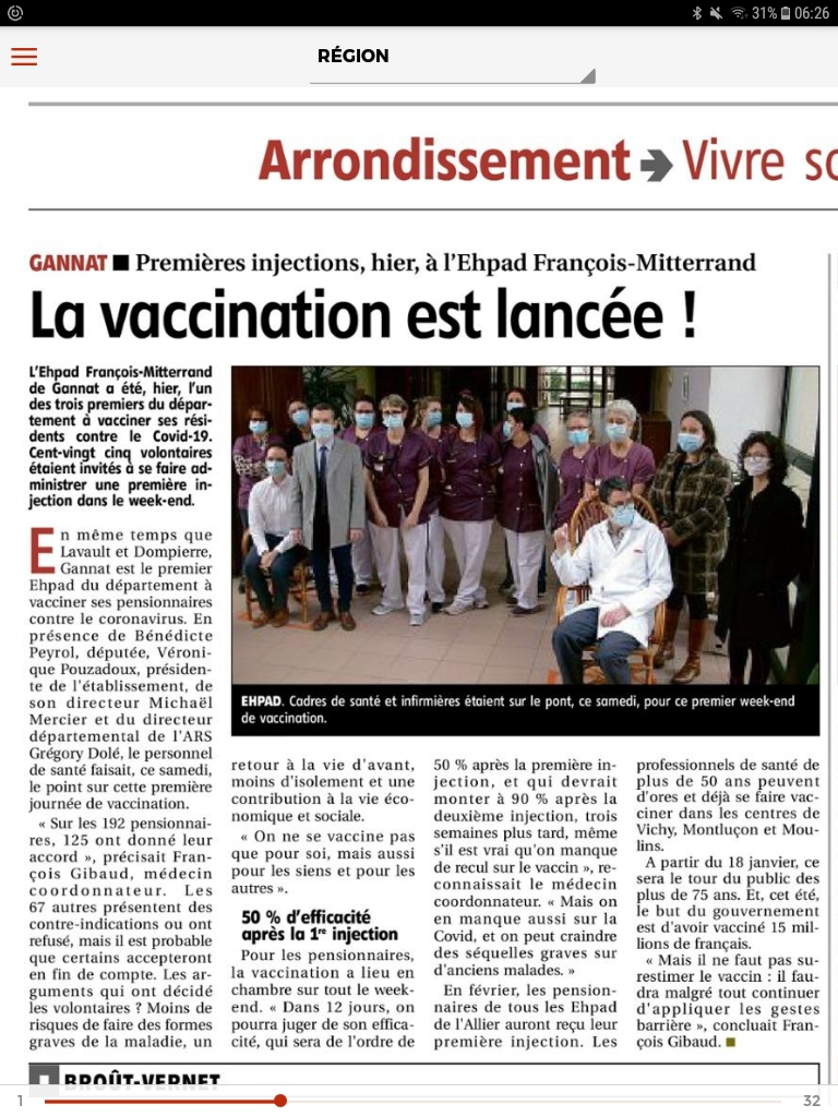 Article de presse Vaccination contre la Covid
